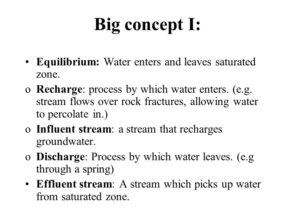 Big concept I: Equilibrium: Water enters and leaves saturated zone.