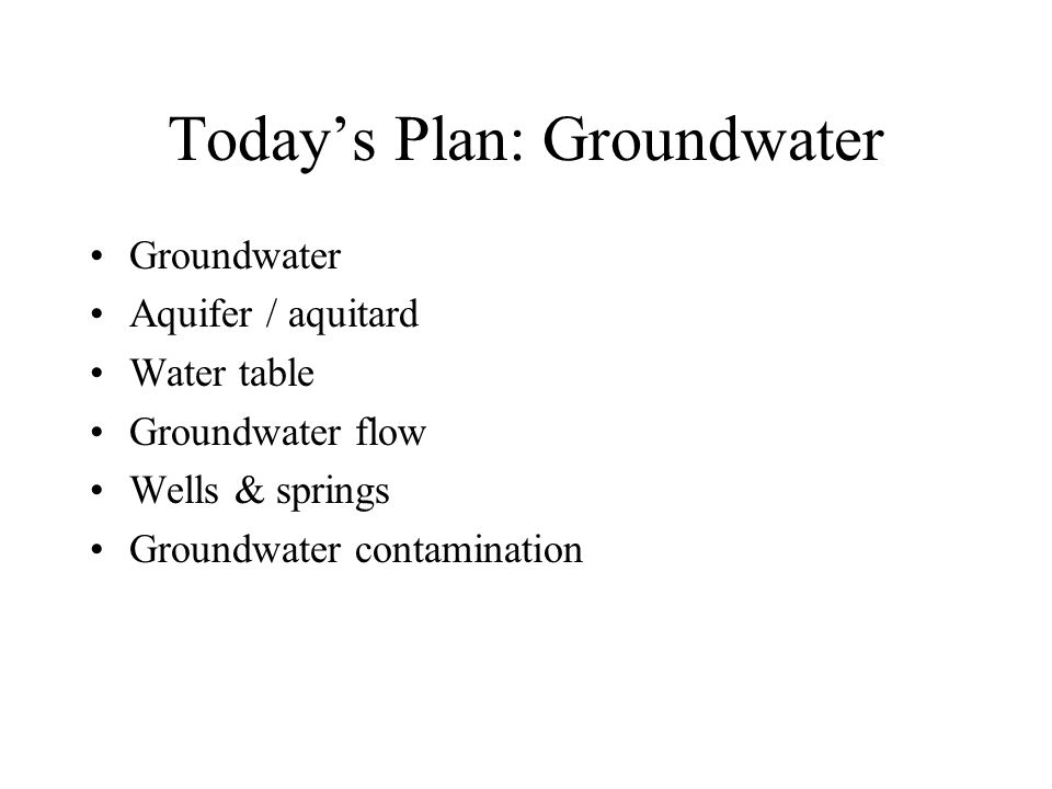 Today's Plan: Groundwater