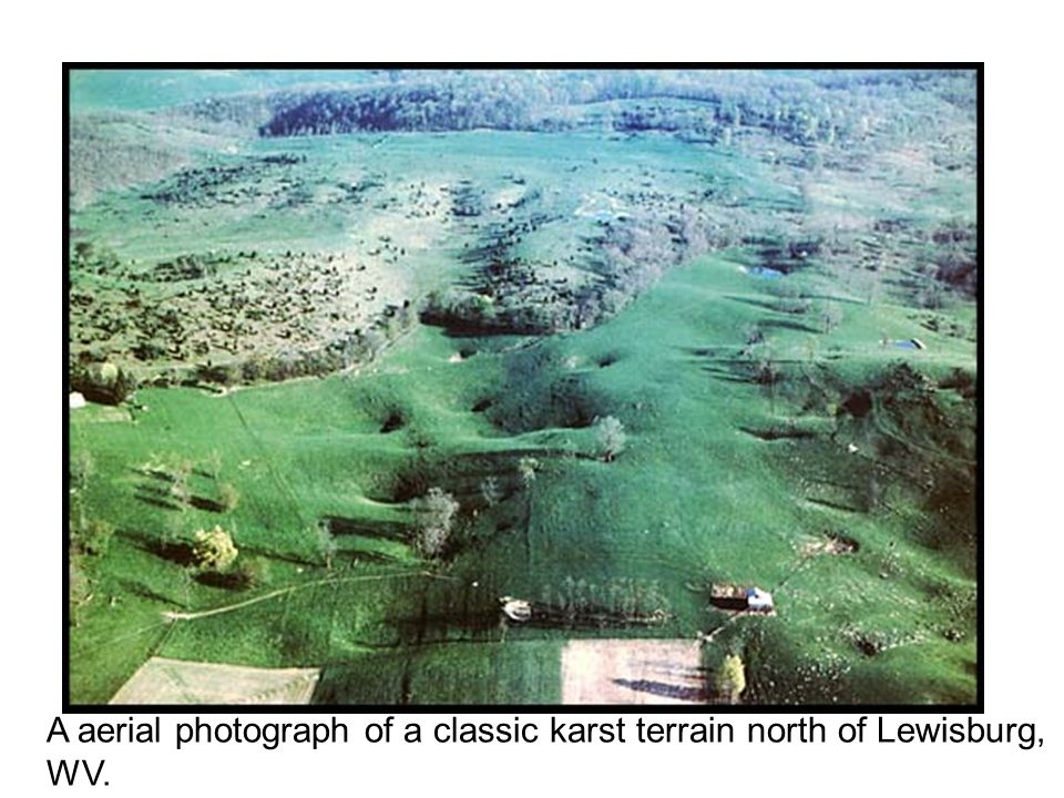 A aerial photograph of a classic karst terrain north of Lewisburg, WV.