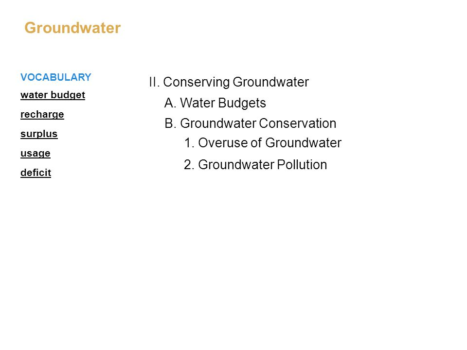 II. Conserving Groundwater