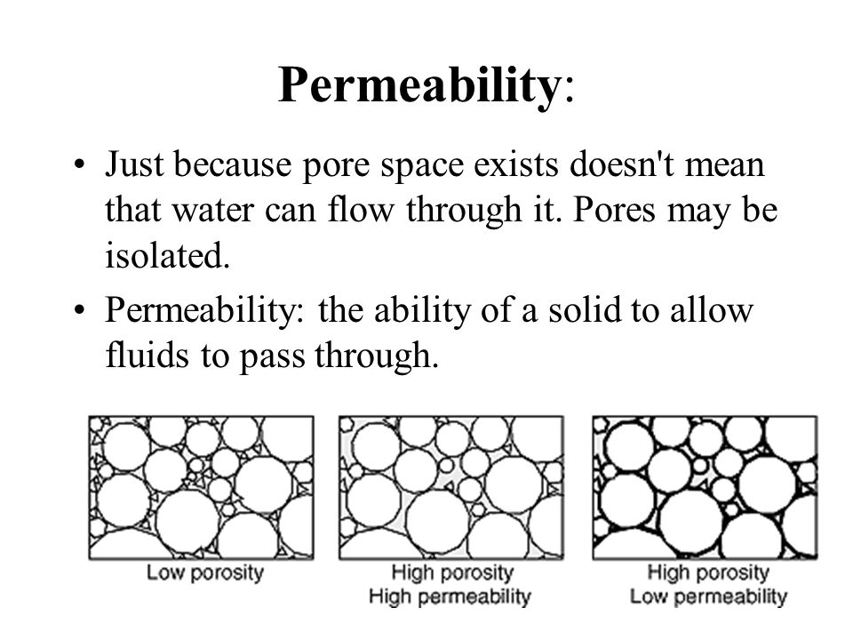 Permeability: Just because pore space exists doesn t mean that water can flow through it. Pores may be isolated.