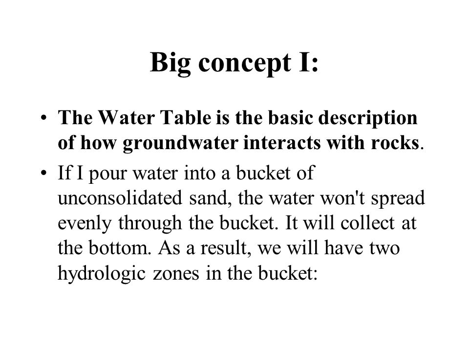 Big concept I: The Water Table is the basic description of how groundwater interacts with rocks.