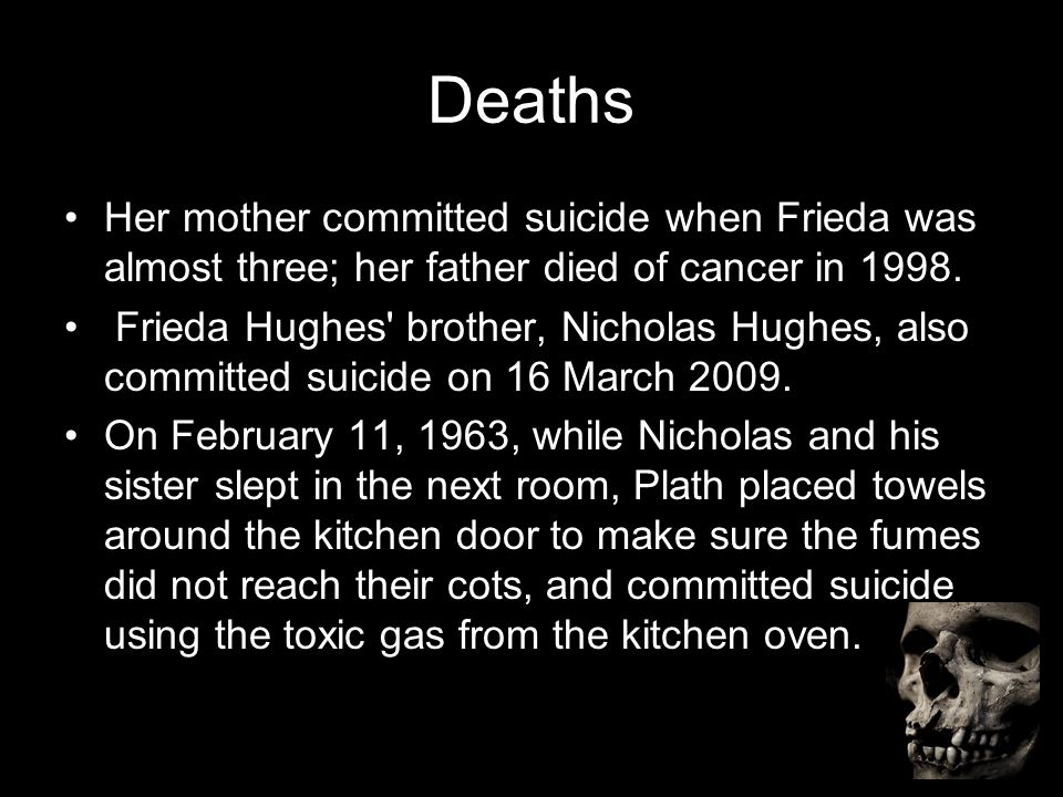 Deaths Her mother committed suicide when Frieda was almost three; her father died of cancer in 1998.