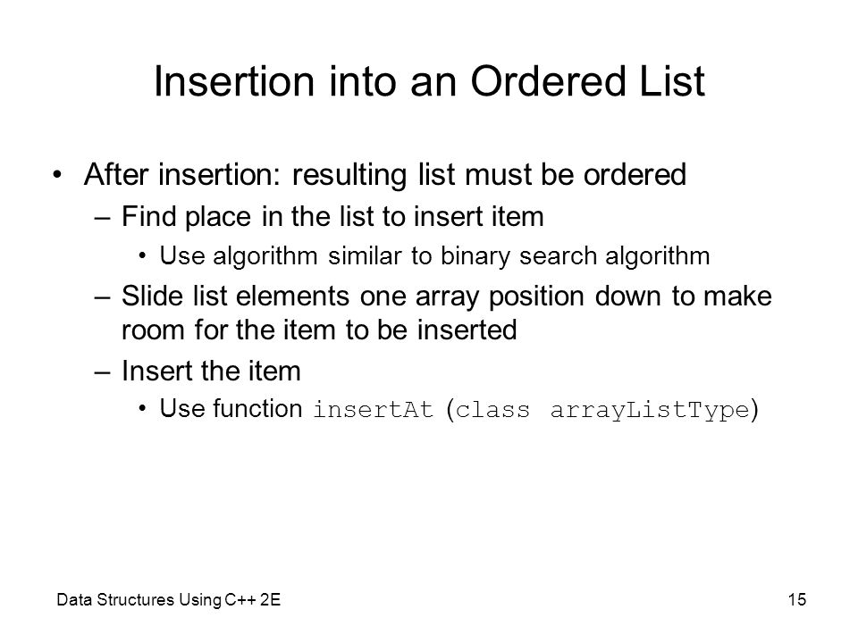 Insertion into an Ordered List