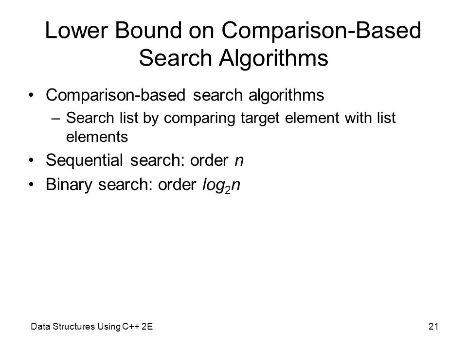 Lower Bound on Comparison-Based Search Algorithms