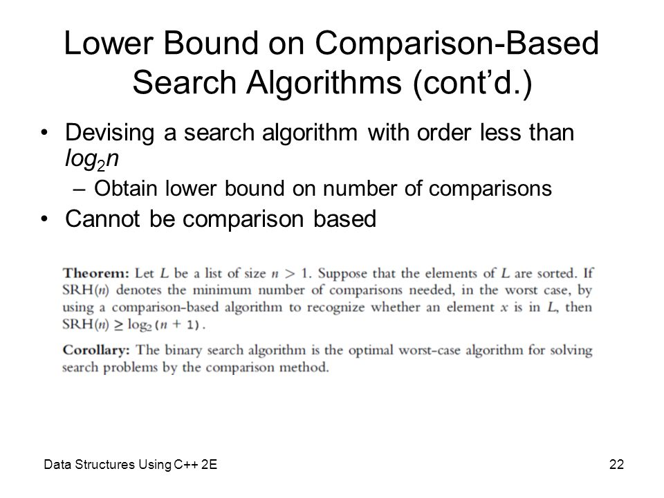 Lower Bound on Comparison-Based Search Algorithms (cont'd.)