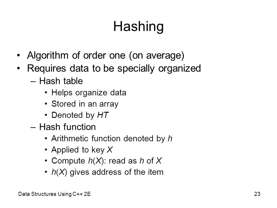 Hashing Algorithm of order one (on average)