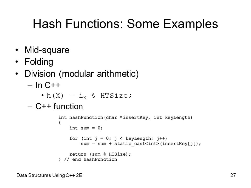 Hash Functions: Some Examples