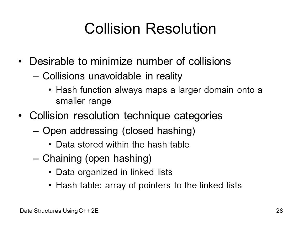 Collision Resolution Desirable to minimize number of collisions