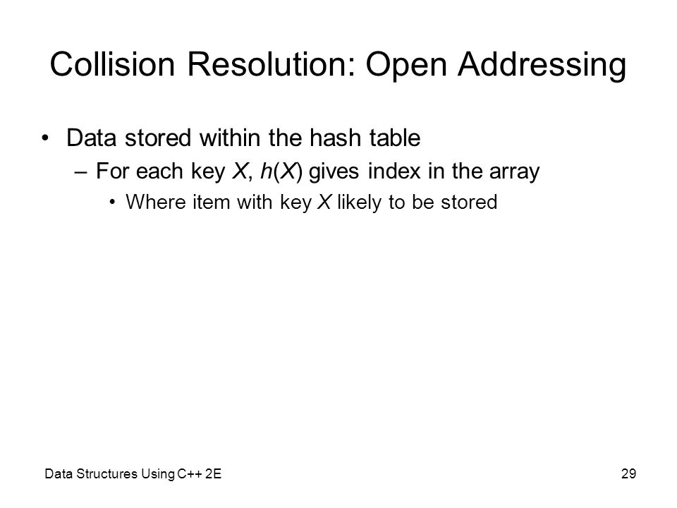 Collision Resolution: Open Addressing