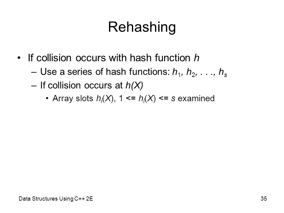 Rehashing If collision occurs with hash function h