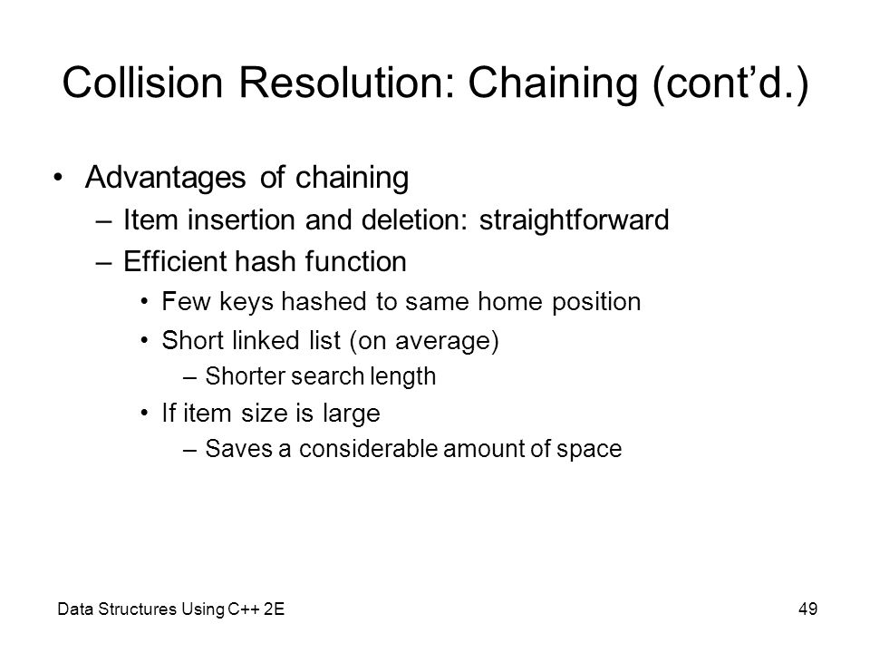 Collision Resolution: Chaining (cont'd.)