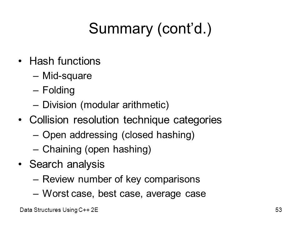 Summary (cont'd.) Hash functions
