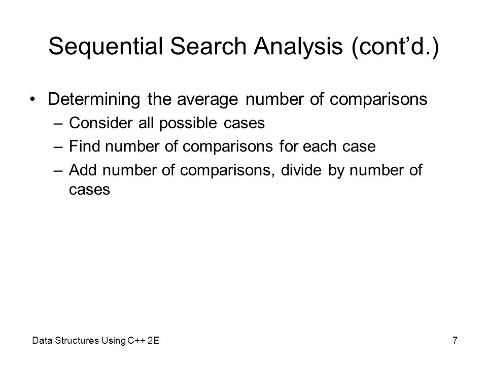Sequential Search Analysis (cont'd.)