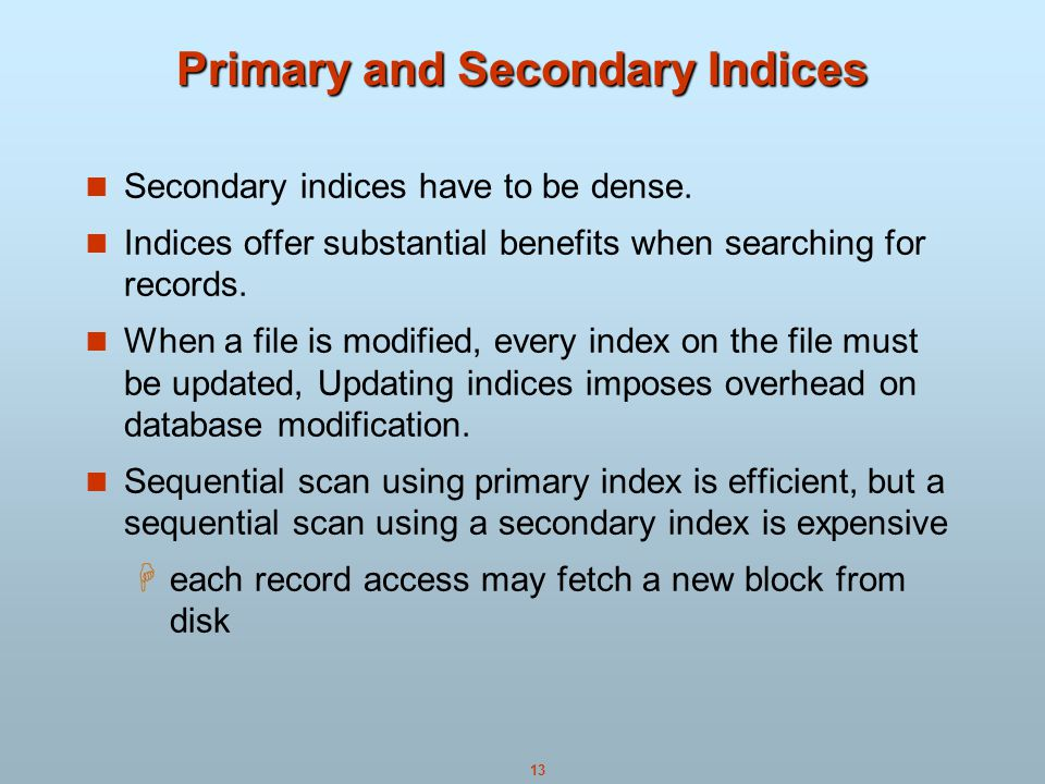Primary and Secondary Indices