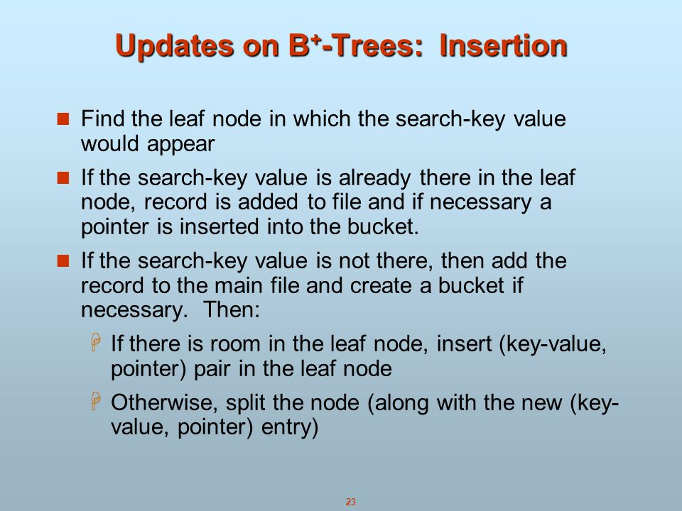 Updates on B+-Trees: Insertion