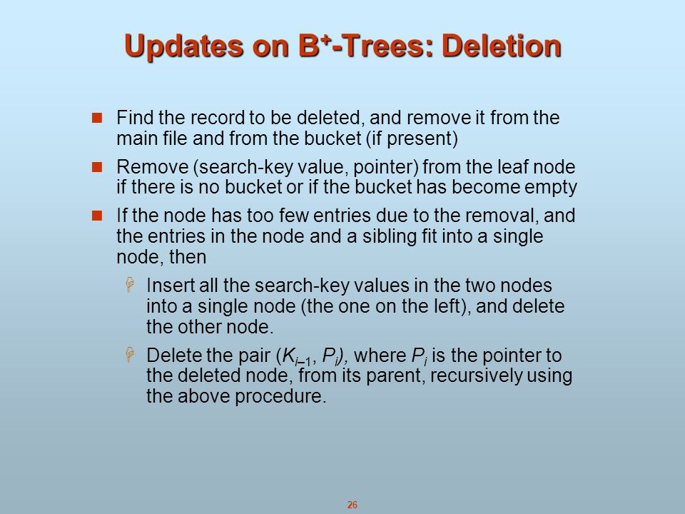 Updates on B+-Trees: Deletion