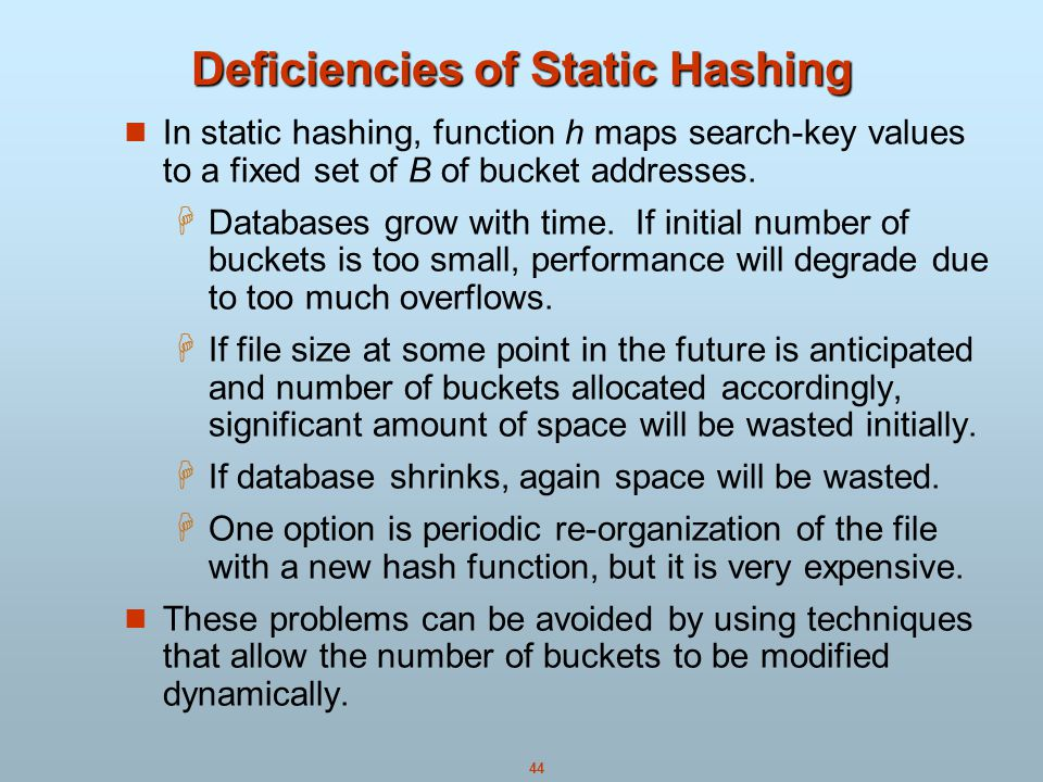 Deficiencies of Static Hashing
