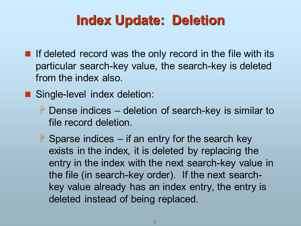 Index Update: Deletion