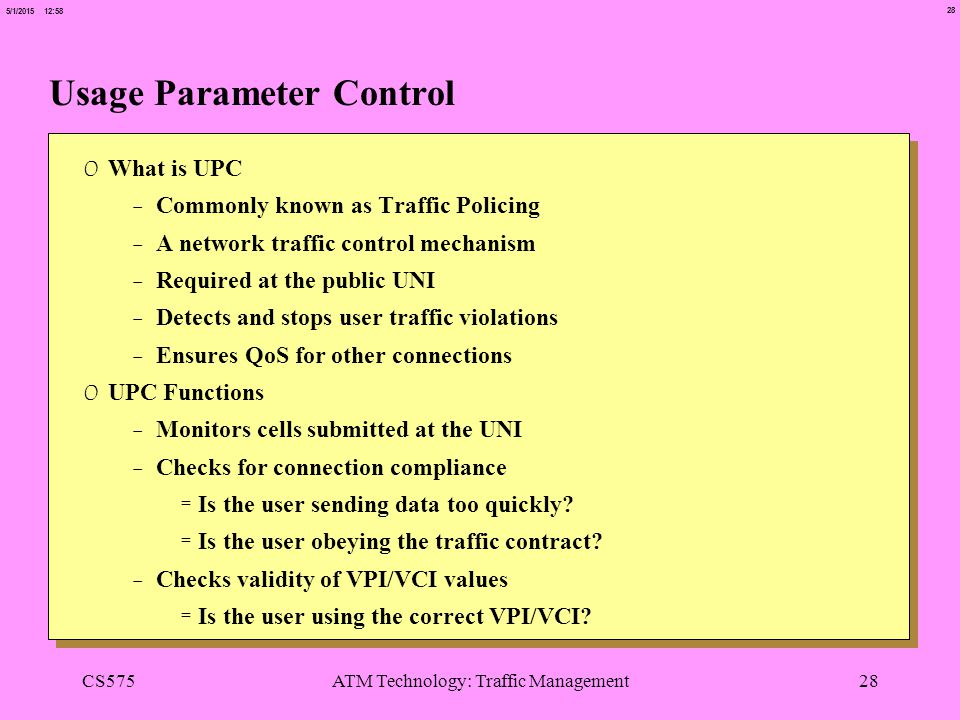 Usage Parameter Control