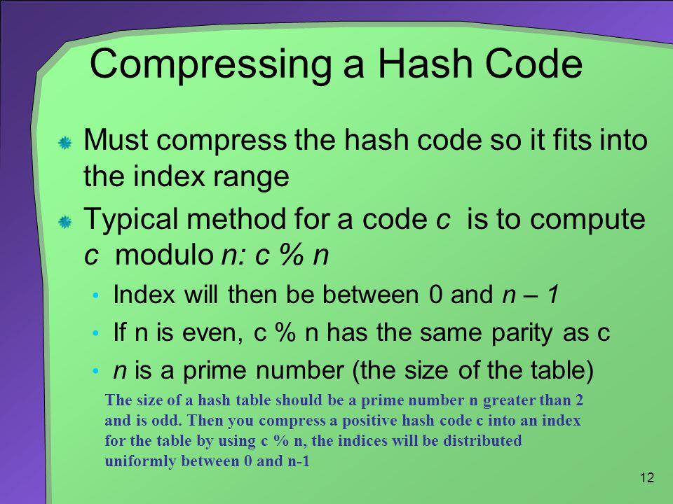 Compressing a Hash Code