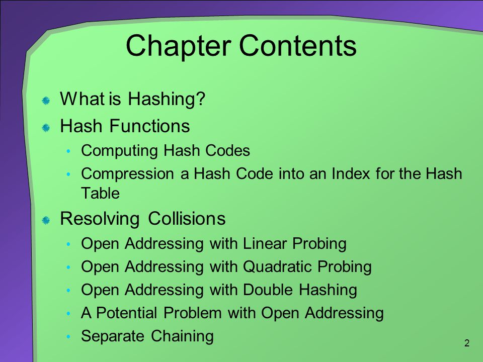 Chapter Contents What is Hashing Hash Functions Resolving Collisions