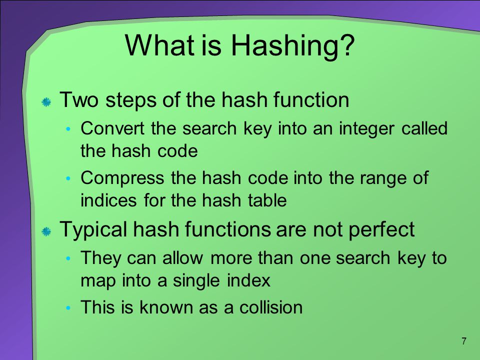 What is Hashing Two steps of the hash function