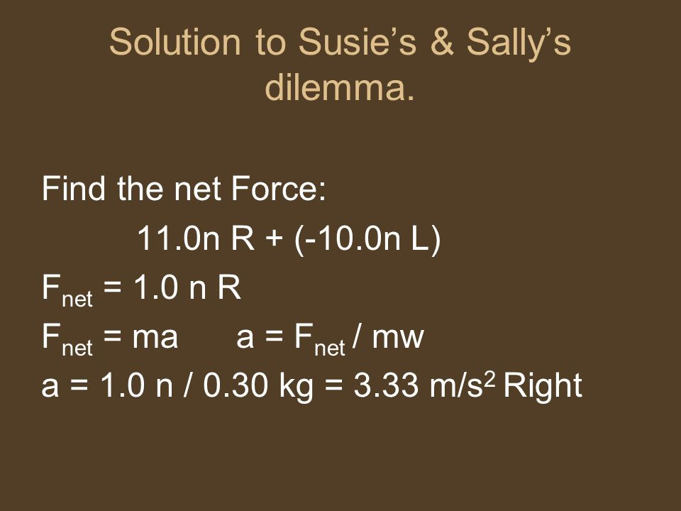 Solution to Susie's & Sally's dilemma.