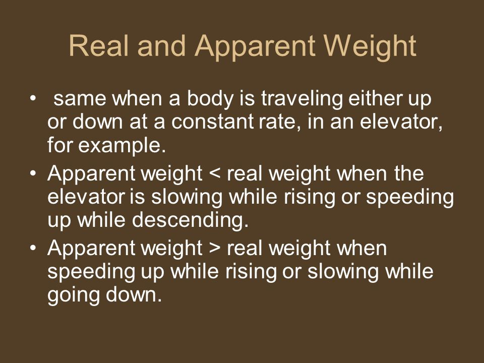 Real and Apparent Weight