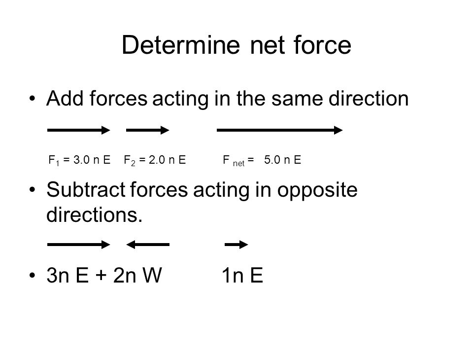 Determine net force Add forces acting in the same direction