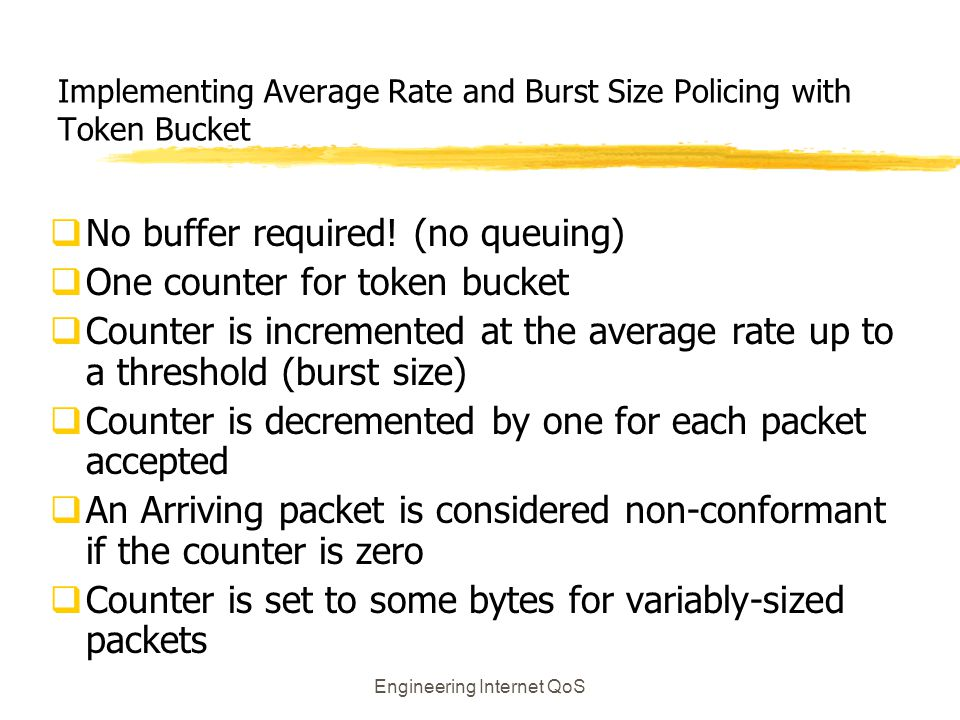 Implementing Average Rate and Burst Size Policing with Token Bucket