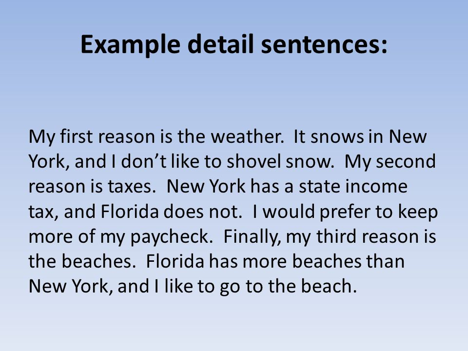Example detail sentences: