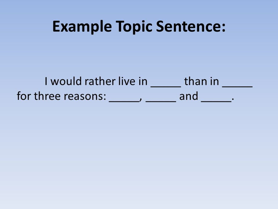 Example Topic Sentence: