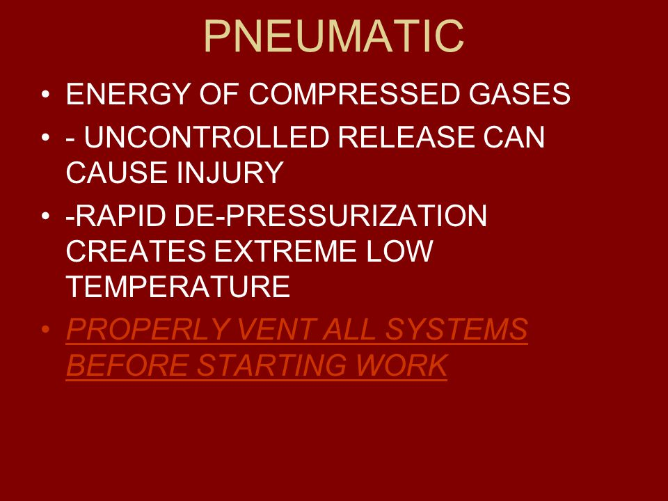 PNEUMATIC ENERGY OF COMPRESSED GASES