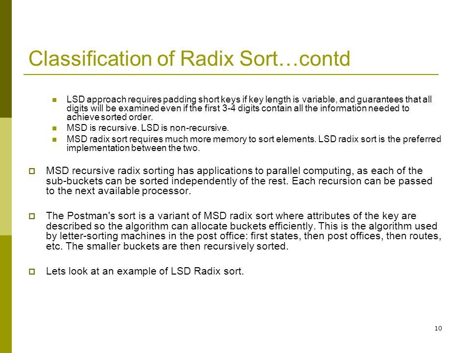 Classification of Radix Sort…contd