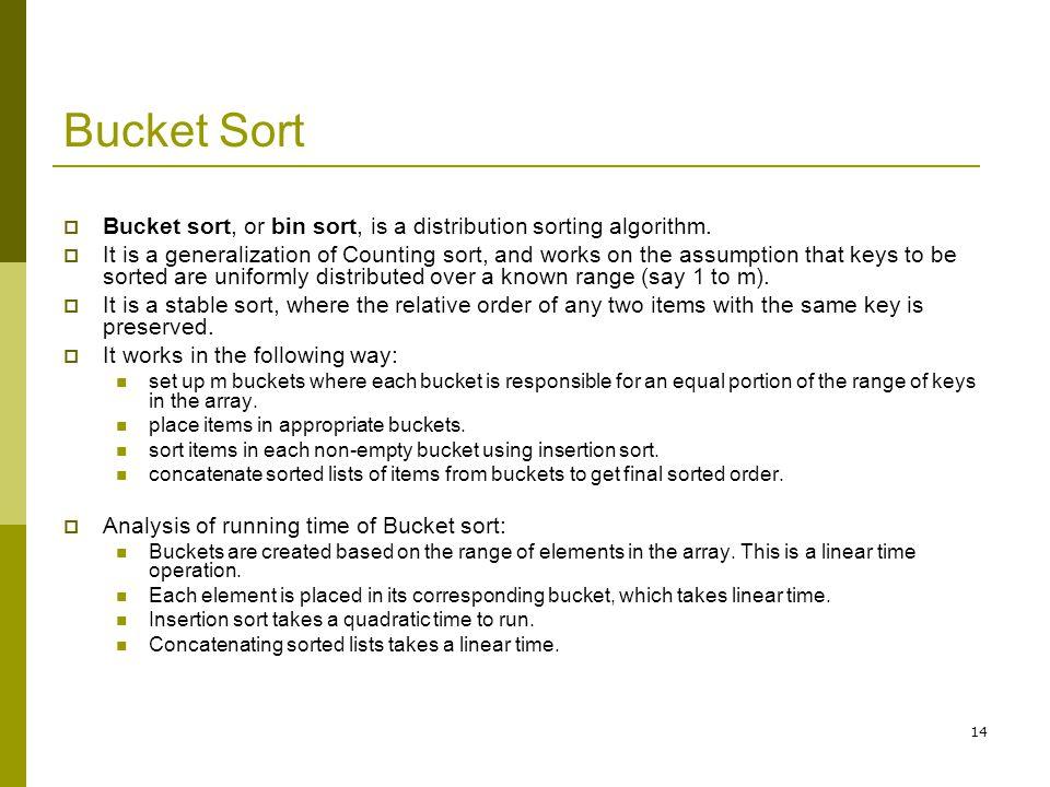 Bucket Sort Bucket sort, or bin sort, is a distribution sorting algorithm.