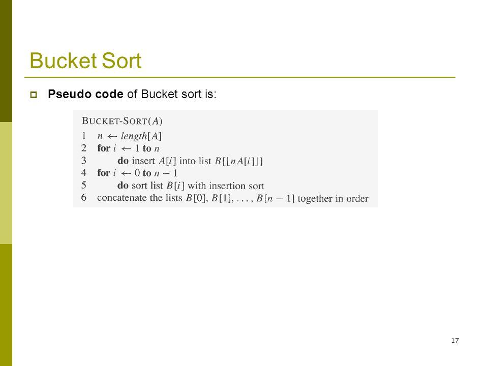 Bucket Sort Pseudo code of Bucket sort is: