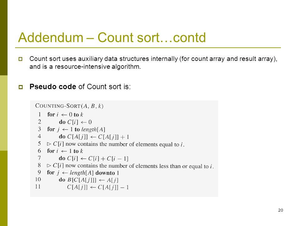 Addendum – Count sort…contd