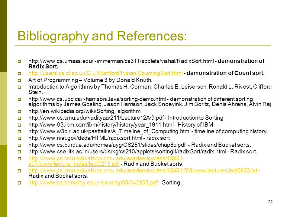 Bibliography and References: