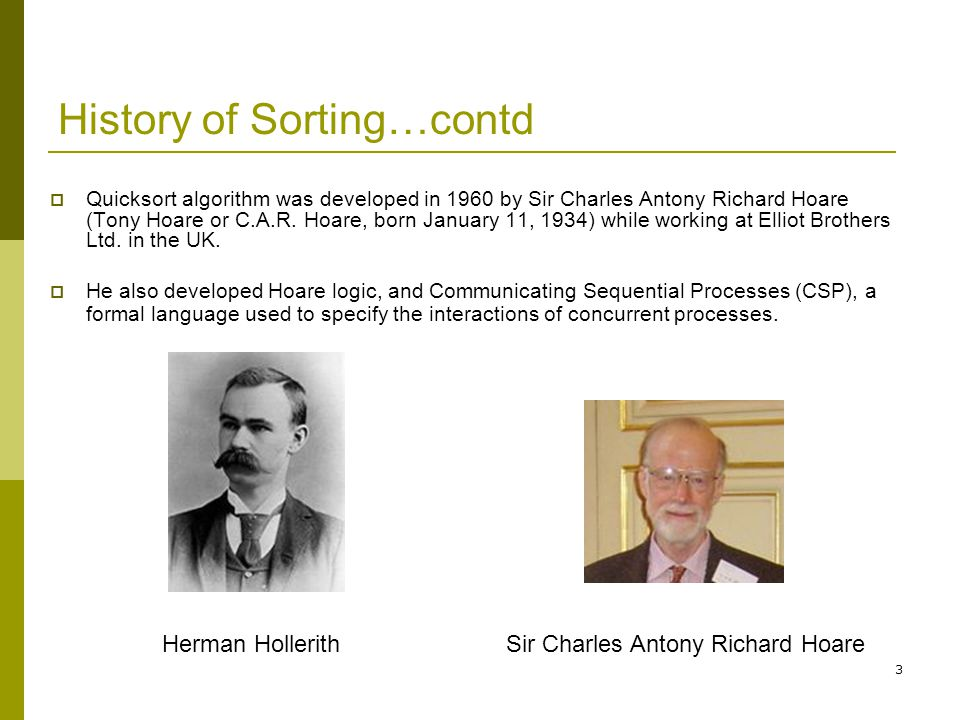 History of Sorting…contd