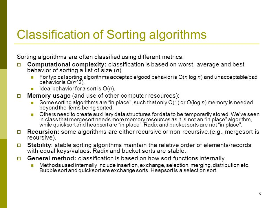 Classification of Sorting algorithms