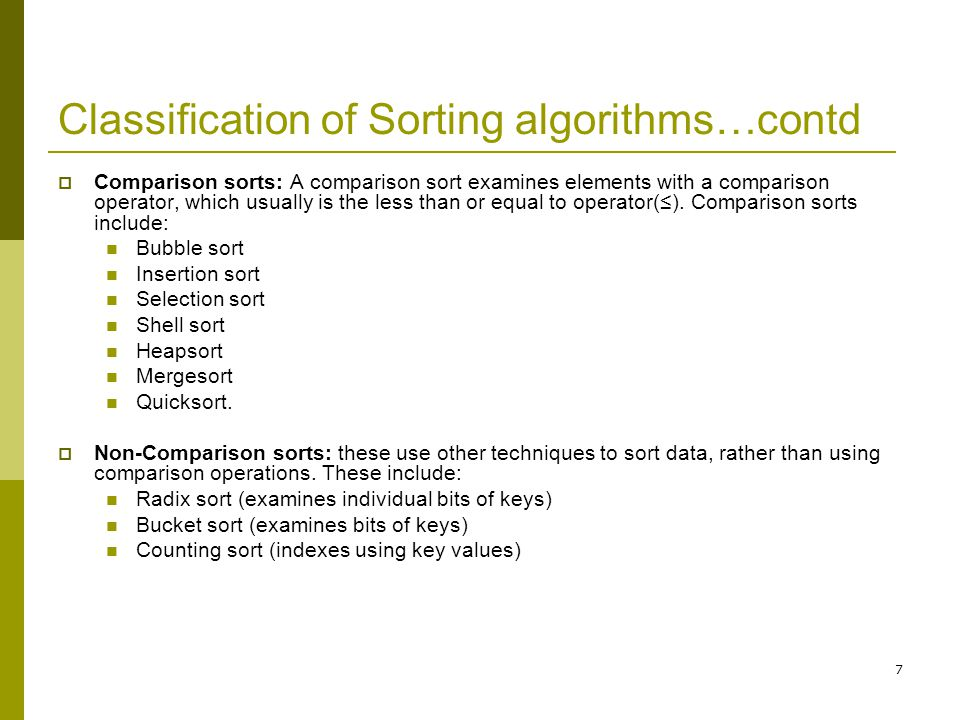 Classification of Sorting algorithms…contd