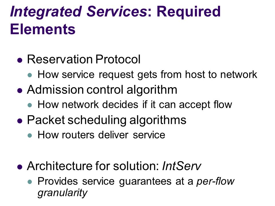 Integrated Services: Required Elements