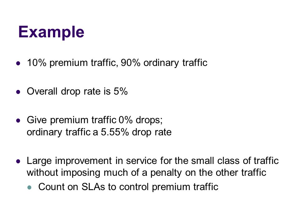 Example 10% premium traffic, 90% ordinary traffic