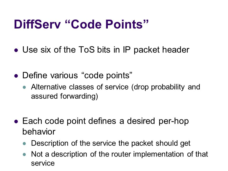 DiffServ Code Points