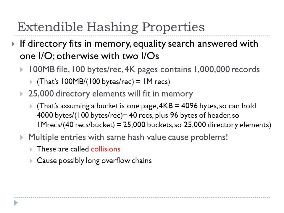 Extendible Hashing Properties