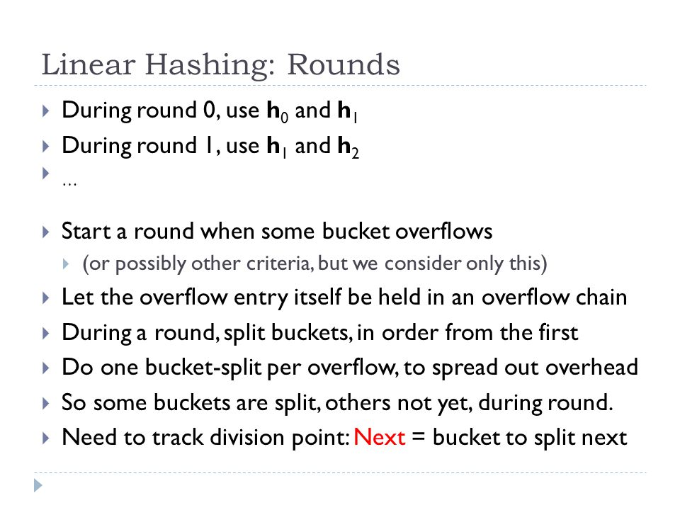 Linear Hashing: Rounds