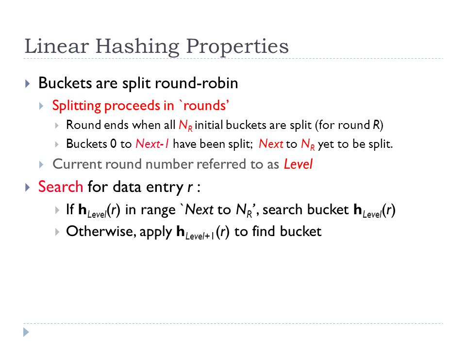 Linear Hashing Properties