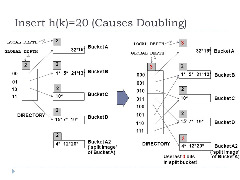 Insert h(k)=20 (Causes Doubling)