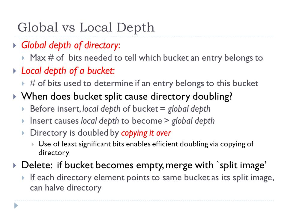 Global vs Local Depth Global depth of directory: